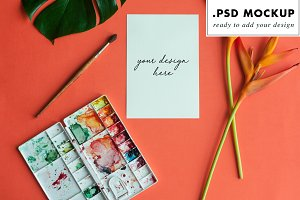 Watercolor wedding invitation mockup