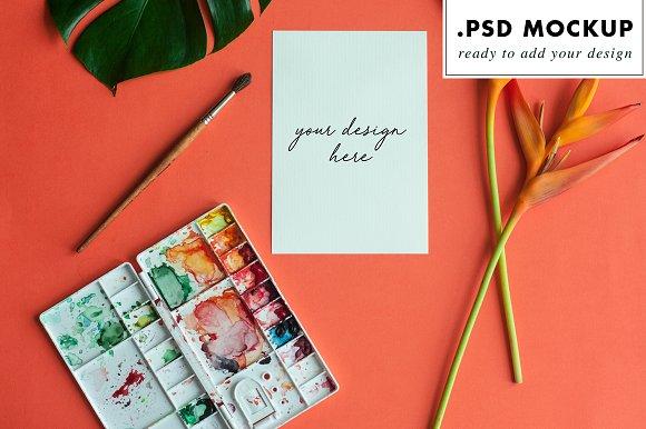Watercolor wedding invitation mockup