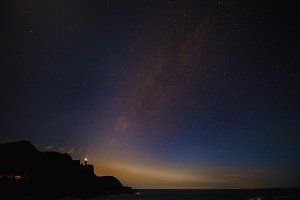 Beautiful sky with many stars above the ocean. Milkway space background