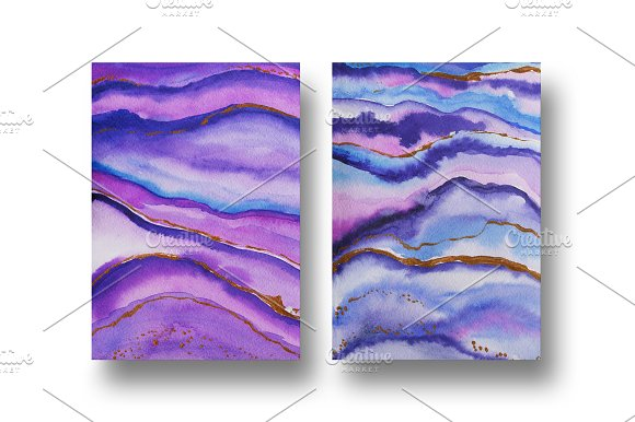 Agate watercolor texture backgrounds in Textures - product preview 2