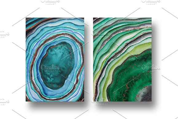 Agate watercolor texture backgrounds in Textures - product preview 8