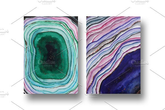 Agate watercolor texture backgrounds in Textures - product preview 10
