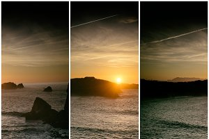 Collage nature, sunset at beach
