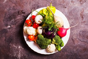 Vegetables in a plate