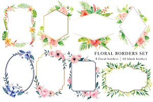 Floral Borders Watercolor Design Set