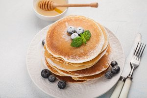 A stack of delicious pancakes with h