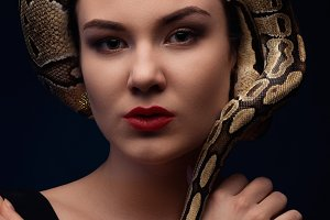 portrait of woman with snake