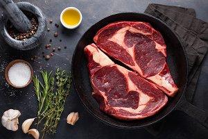 Raw fresh marbled meat Steak Ribeye