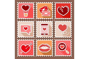 Valentines day postage stamps