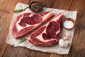 Two fresh raw marble meat, black Ang