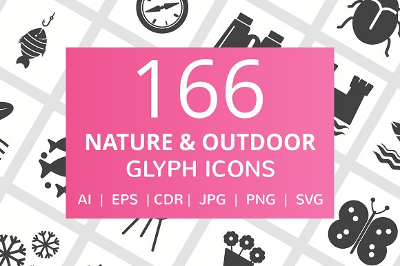 166 Nature Outdoor Glyph Icons