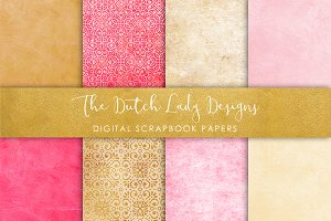 Pink & Oker Print - Scrapbook Papers