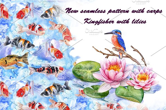 Koi carps. Water lilies in Patterns
