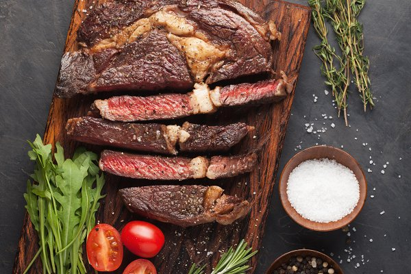 Grilled ribeye beef steak with red…