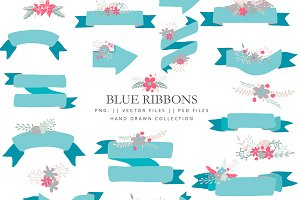 Blue ribbons and flowers - vector