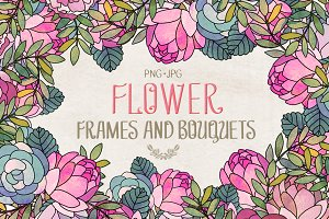 Flower frames and bouquets