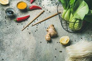 Vegetables, spices, noodles, sauces
