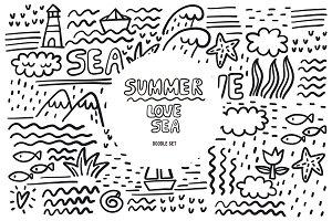 Love, Summer, Sea doodle