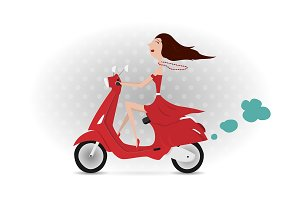 Girl Riding Vespa. Vector.