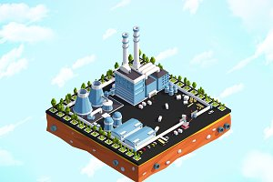 Cartoon Low Poly City Factory