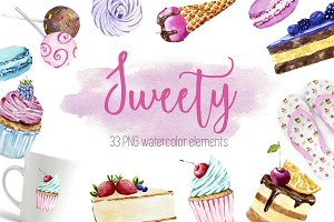 Watercolor sweety set