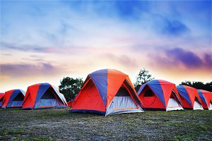 Camping and colorful tents