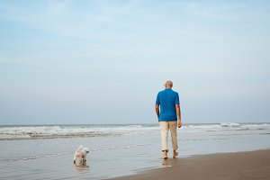 dog and man walking at the beach
