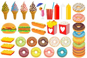 36 Fast Food & Donuts Cliparts