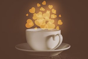 Valentine's day concept - cup with heart shaped bokeh background