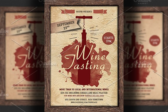 Wine Tasting Flyer Template Flyer Templates Creative Market