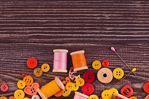 threads and buttons yellow-red
