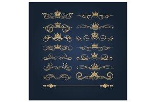 Golden vintage elements, vector