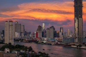 Bangkok cityscape river side