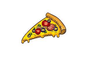 Slice of pizza pop art vector illustration