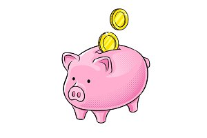 Piggy bank and golden coins pop art vector