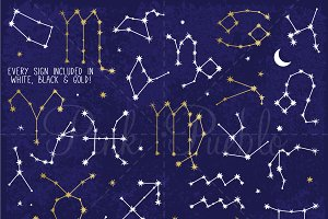Zodiac Sign Constellations Clipart