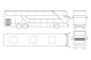 Double-deck multi-axle luxury touring coach outline. Commercial vehicle. Intercity bus vector illustration.