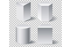 Geometric white 3d shapes