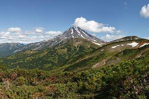 Summer volcano panorama of Kamchatka
