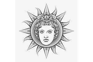 Antique roman apollo sun face