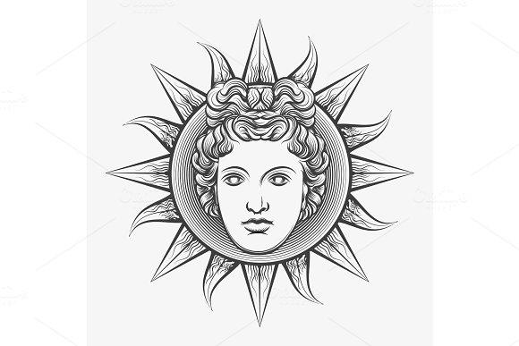 Antique Roman Apollo Sun Face