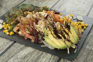 Healthy and varied salad.