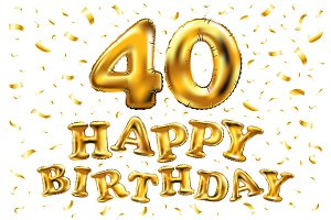 happy birthday 40 gold balloon