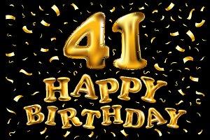 happy birthday 41 golden balloon