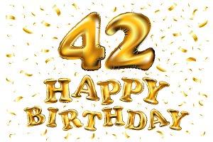 happy birthday 42 golden balloon