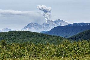Summer eruption volcano landscape