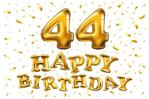 happy birthday 44 gold balloon