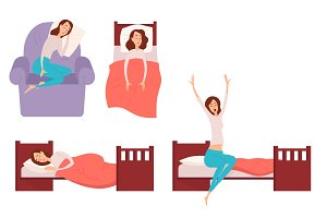 Sleeping young woman at home vector illustration