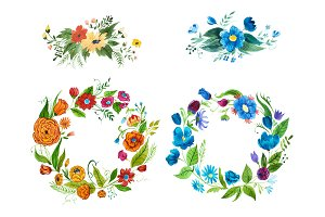 Hand drawn watercolor floral elements with blue and orange flowers
