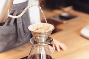 Barista, cafe, making coffee, preparation and service concept